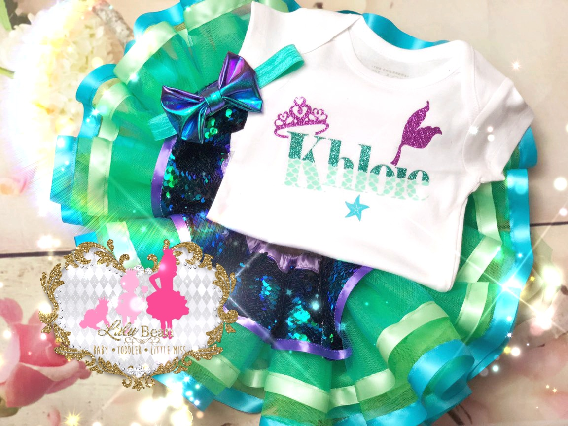 Signature Newborn Mermaid Inspired Sequins Tutu Set
