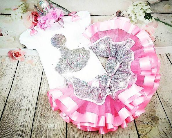Pink Princess Silhouette Tutu Set