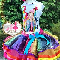 Girls Rainbow Jojo Siwa Inspired Tutu Set