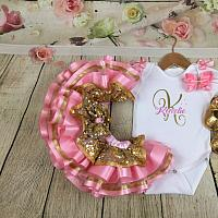 1st Birthday Pink and Gold Initial Birthday Set