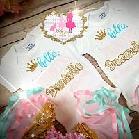 "Newborn""Hello Princess "" Coming Home ""Cotton Candy"" Color Signature Tutu Set"