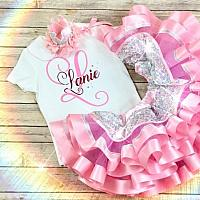 1st Birthday Pink & Silver Initial Tutut Set